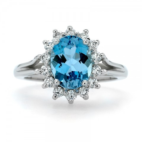 Aquamarine and Diamond Ring 211-10554