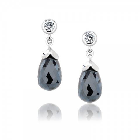 Black Diamond Drop Earrings 121-10073