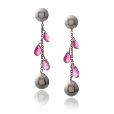 Black Pearl Drop Earrings 530-10168