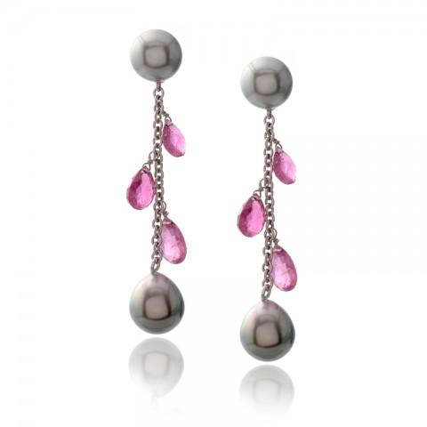 Black Pearl Drop Earrings 530-10168