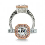 The Ester Pink Diamond Halo Engagement Ring