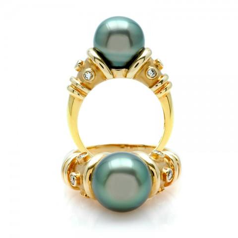Gold Tahitian Black Pearl Ring rme-00161