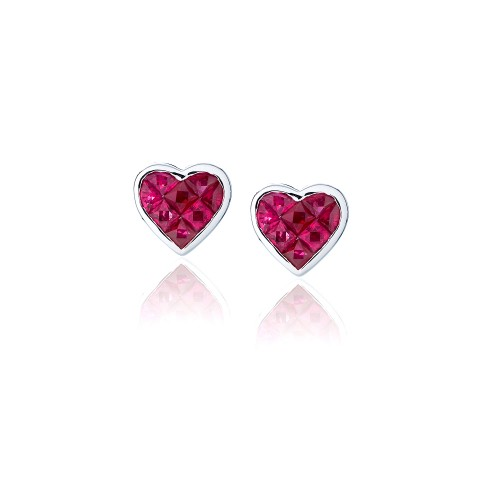 Ruby Heart Earrings 225-10017