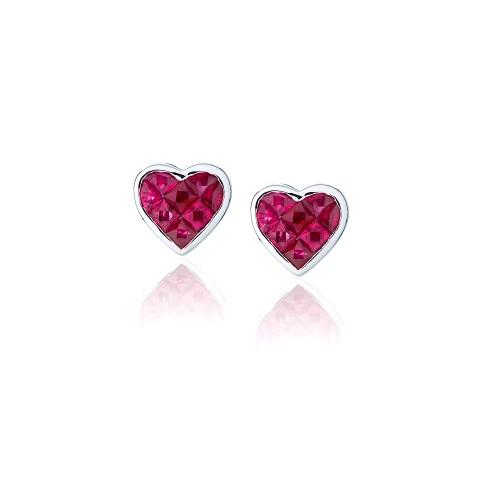 Ruby Heart Earrings 225-10017
