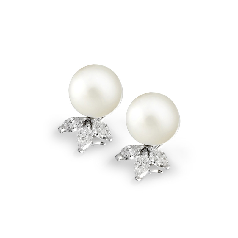 Pearl Studs South Sea And Diamond Earrings