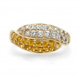 Yellow Sapphire and Diamond Band