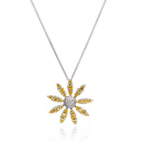 Yellow Sapphire and Diamond Pendant 255-10019