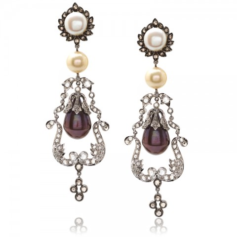 Diamond and Pearl Chandelier Earrings