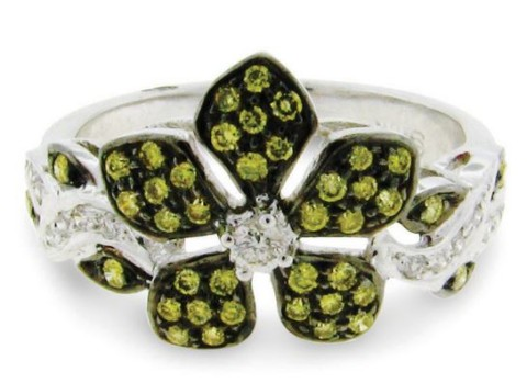 Green and White Diamond Enchanted Garden Ring in 18 Karat White and Blackened Gold