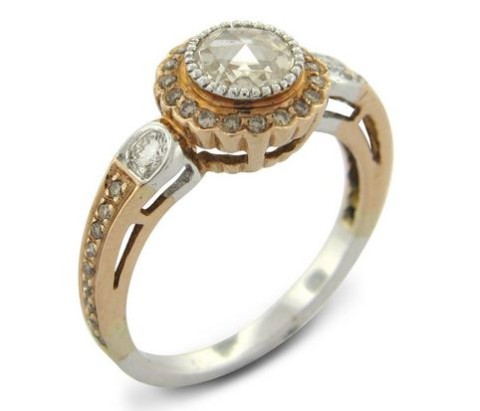 True Romance Rose Cut Diamond Ring with Champagne Diamond Accents