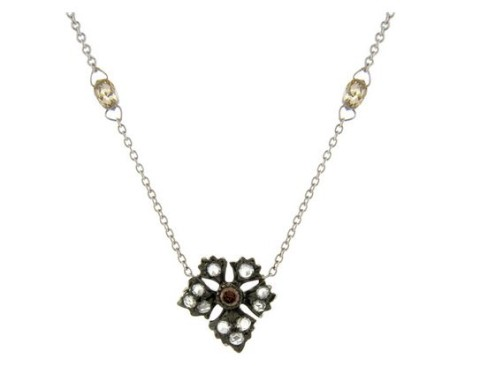 Enchanted Garden Rose Cut and Cognac Diamond Station Necklace in 18 Karat White and Blackened Gold