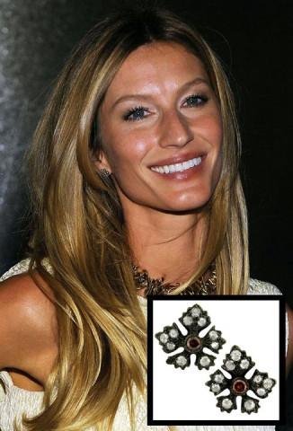 Supermodel Gisele Bundchen wearing the Enchanted Garden Rose Cut and Cognac Diamond Stud Earrings