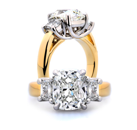 Three Stone Cushion Engagement ring