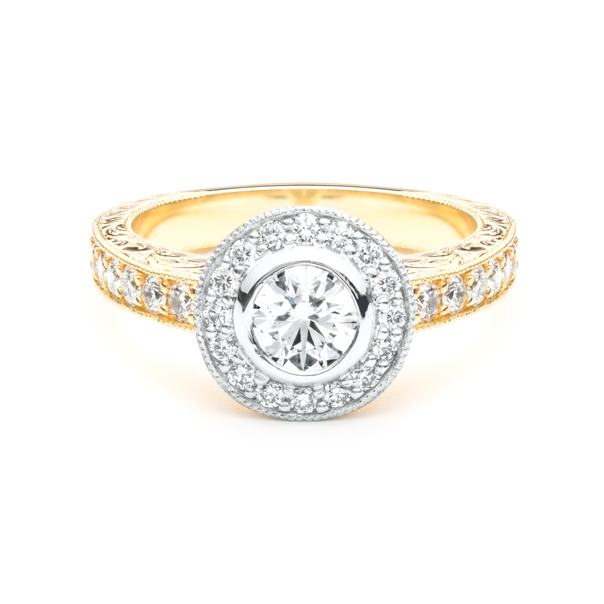 The Ester Hand Engraved Engagement Ring