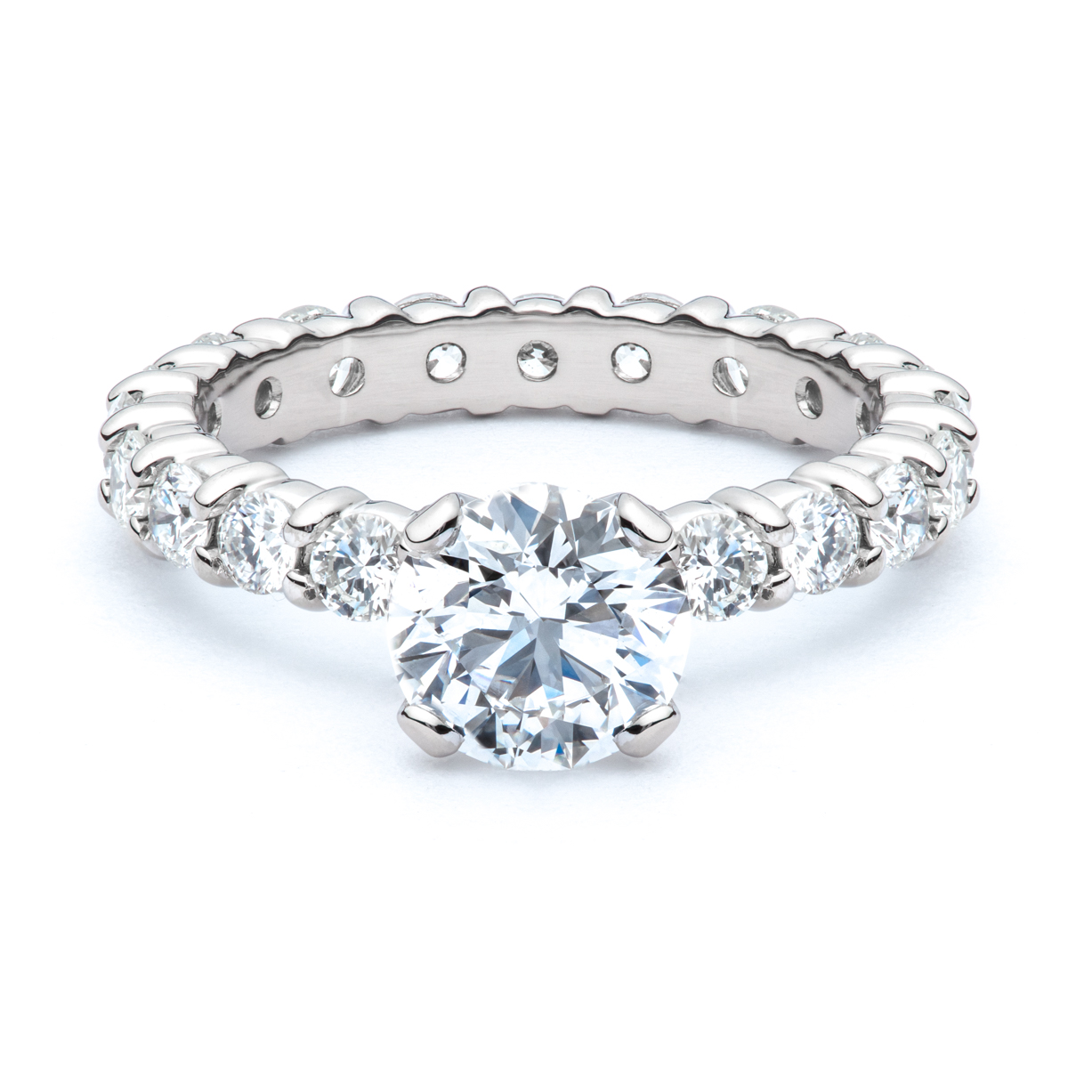 prong cushion diamonds rings by natalie engagement ring shared diamond cut product