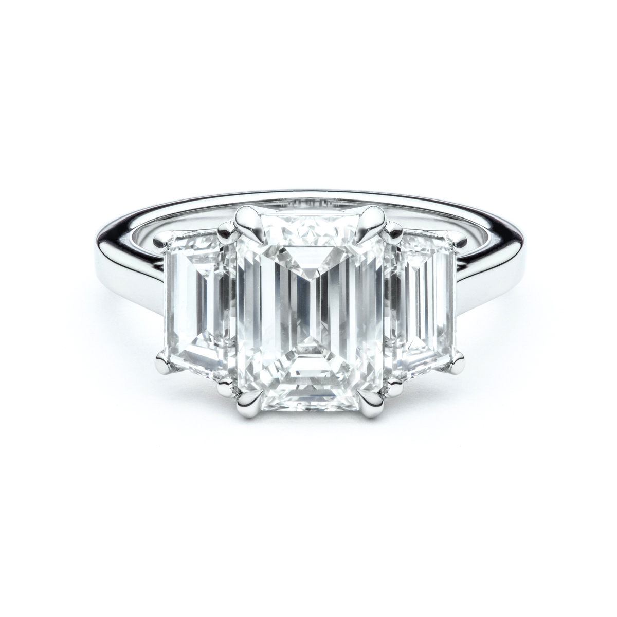 Emerald Cut and Trapizoid Three Stone Engagement Ring