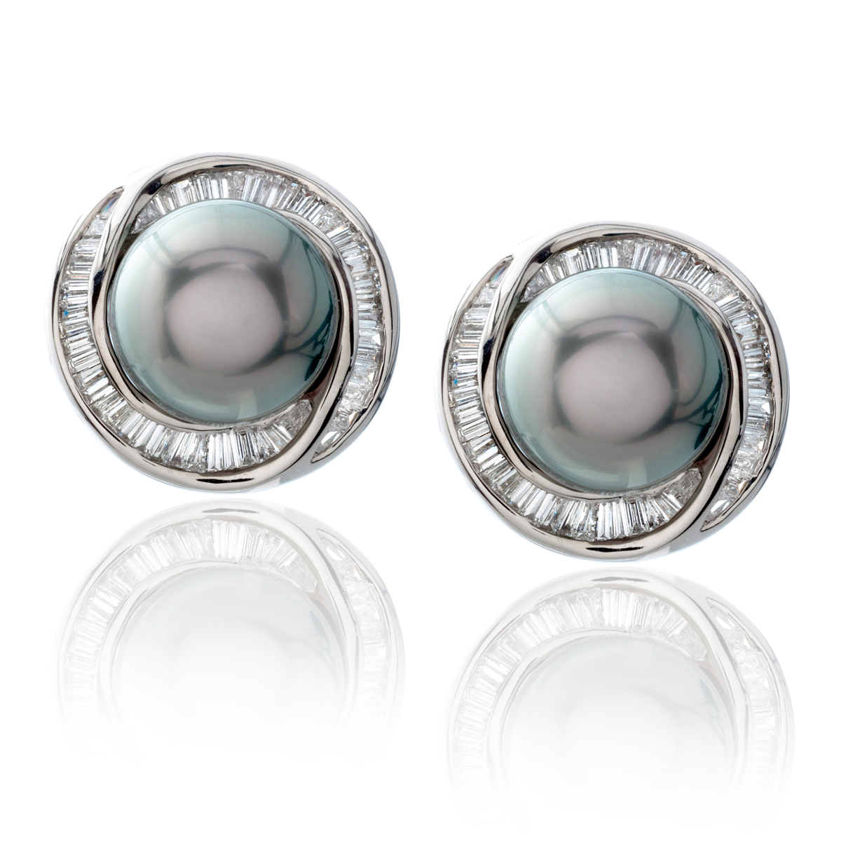 Tahitian Black Pearl And Diamond Halo Earrings