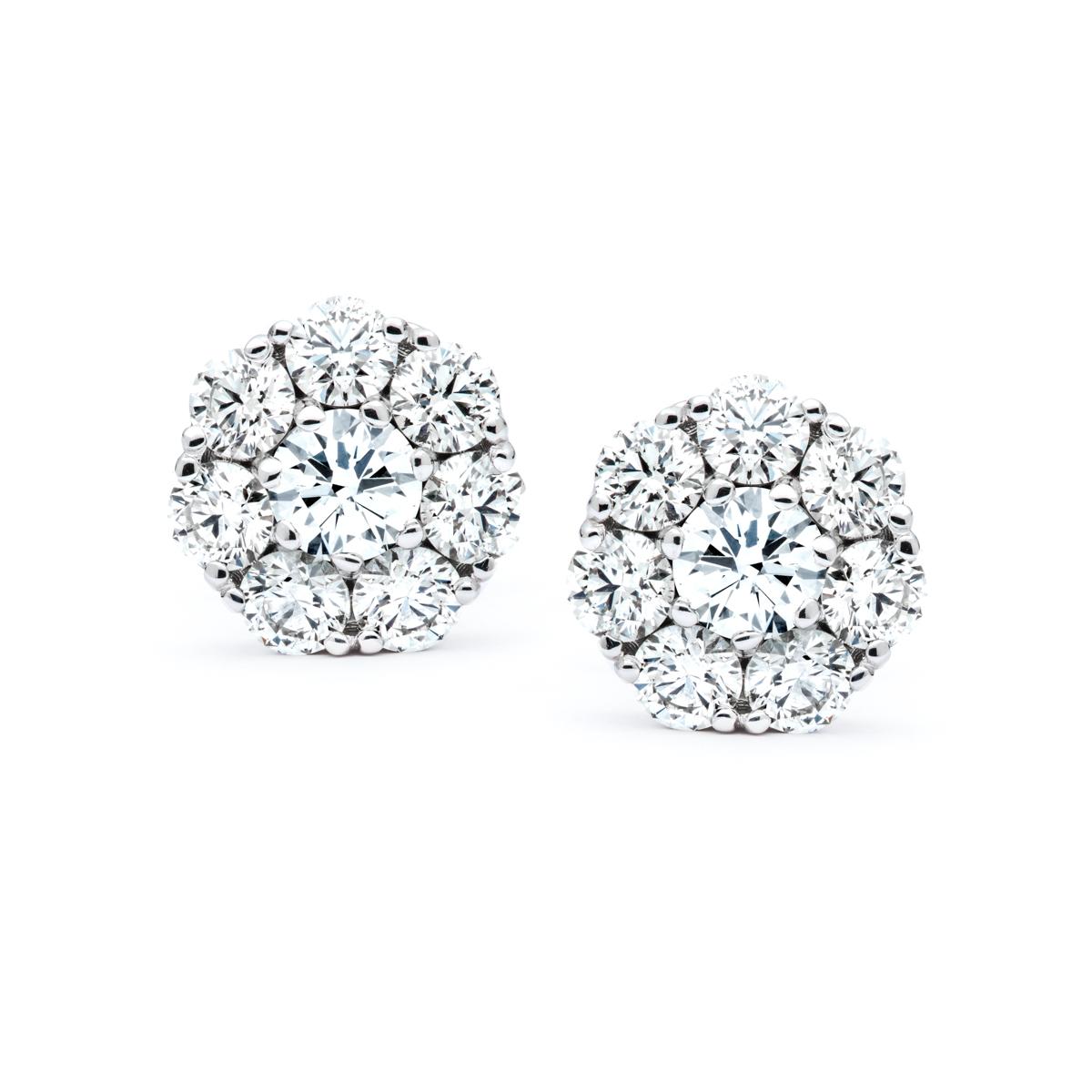 White Gold Diamond Cluster Earrings Jm Edwards Jewelry