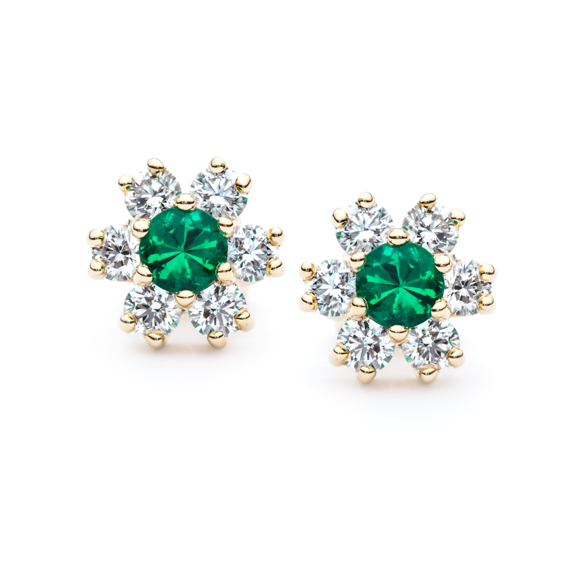 Emerald And Diamond Snowflake Earrings Jm Edwards Jewelry