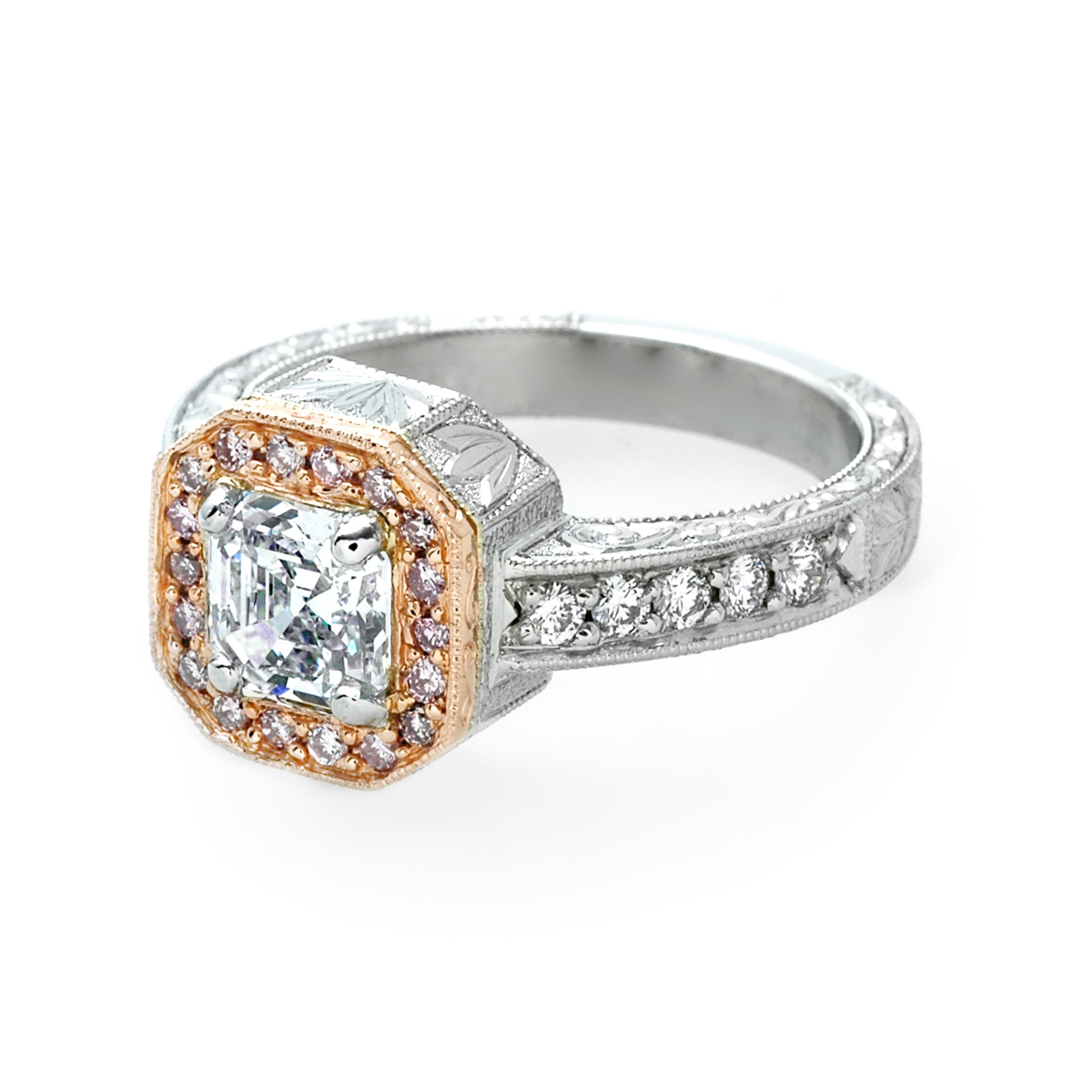 The Ester Pink Diamond Halo Engagement Ring | JM Edwards