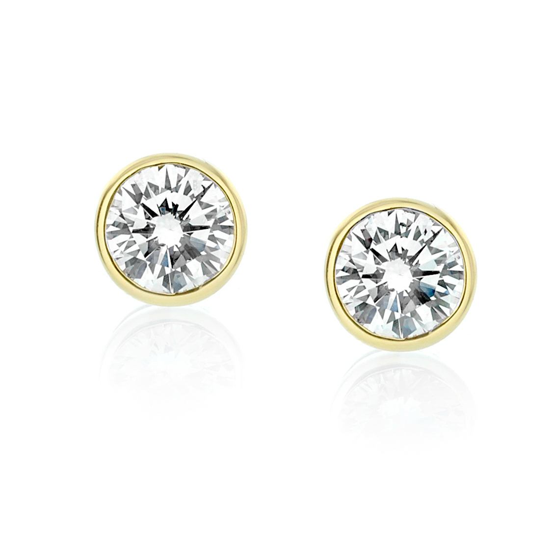 marshall product brilliant company bezel carat classic earring in diamond pierce cut stud earrings round set
