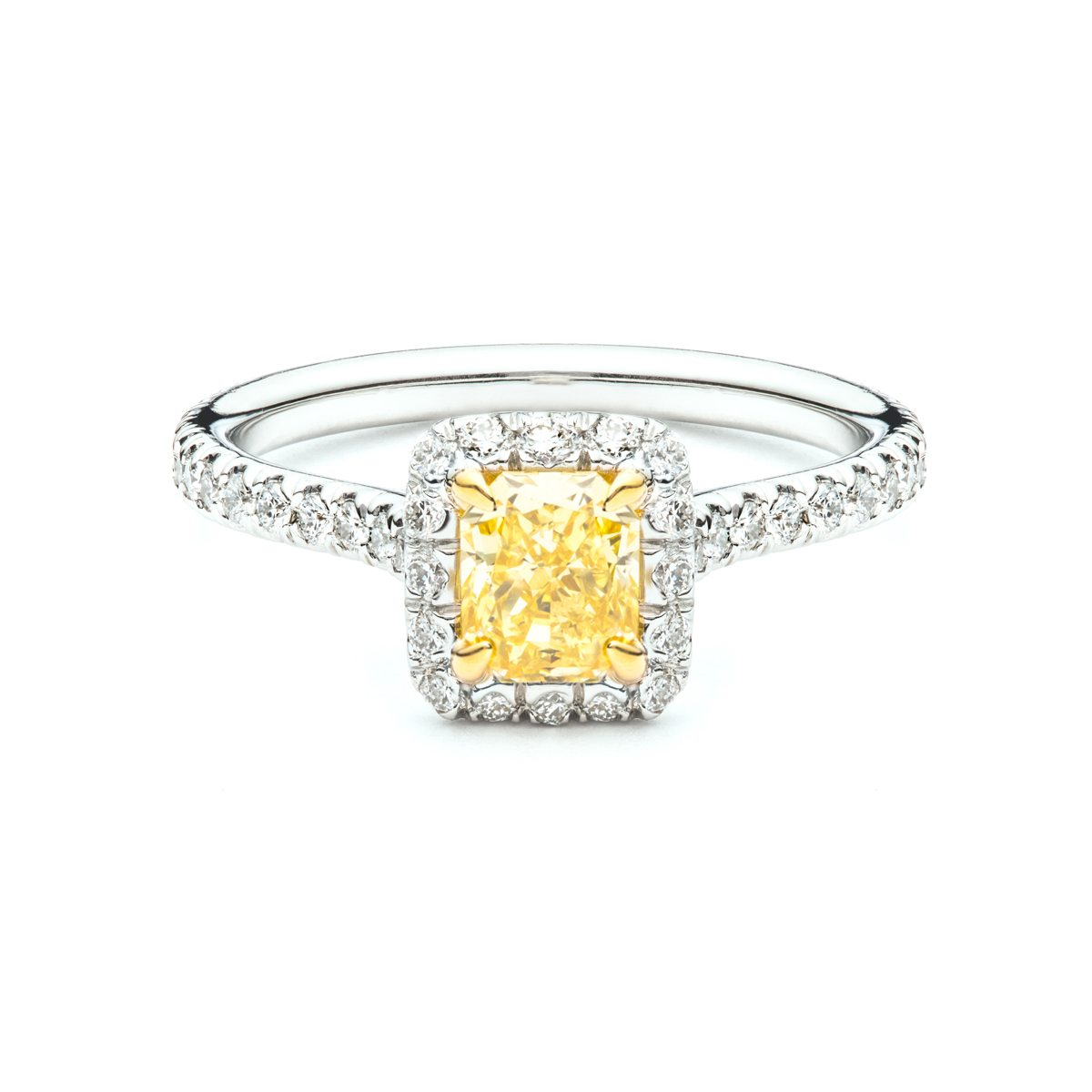 Delicate Fancy Yellow Diamond Halo Engagement Ring