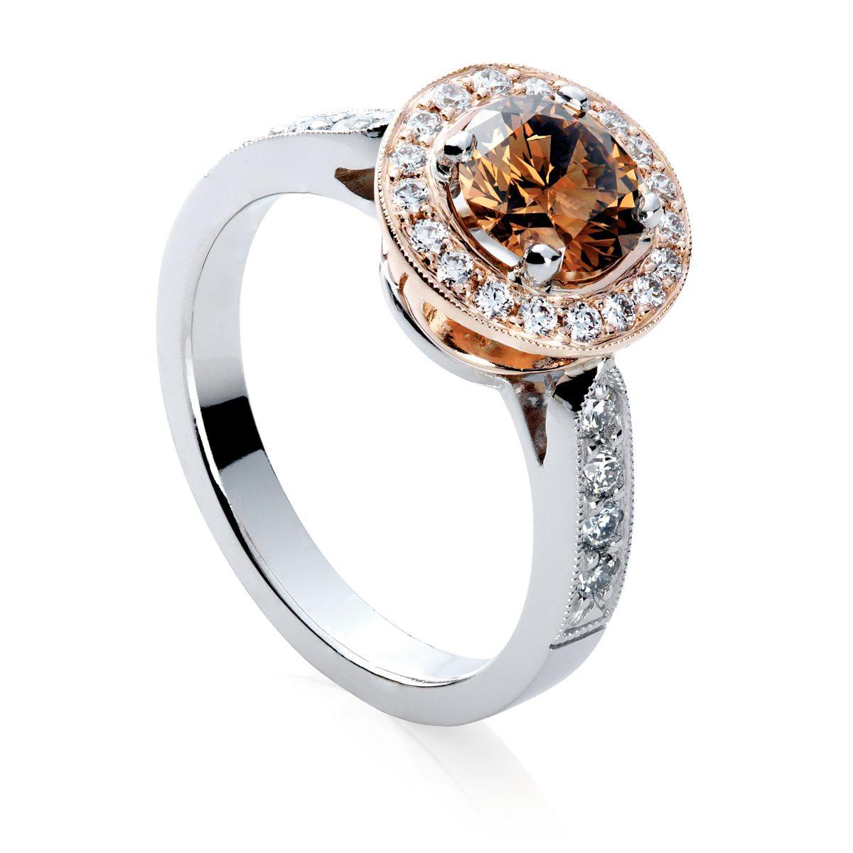Rose Gold Cognac Diamond Ring