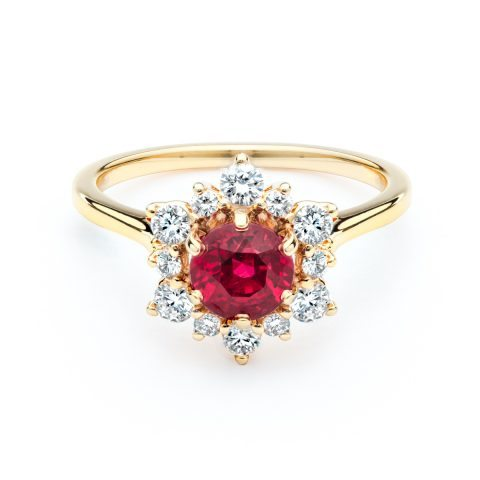 Round Ruby with Diamond Halo Ring